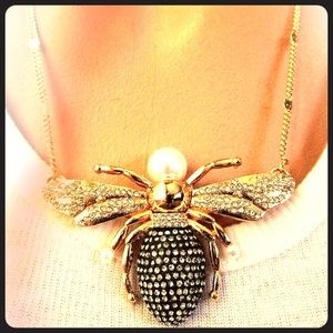 Bauble Bar Golden Bee Pearl & Ice Necklace